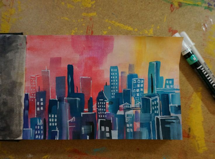 cityscape done in white chalk paint - Google Search