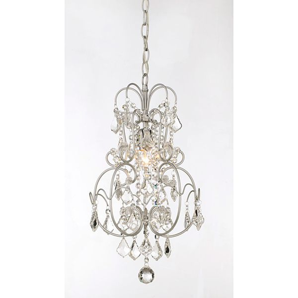 Dainty  Matte Silver and Crystal 1 light Chandelier  11 inches W x 19 5  inches H  Black  Bathroom ChandelierMini  425 best Bathroom brainstorming images on Pinterest   Bathroom  . Mini Crystal Chandeliers For Bathroom. Home Design Ideas