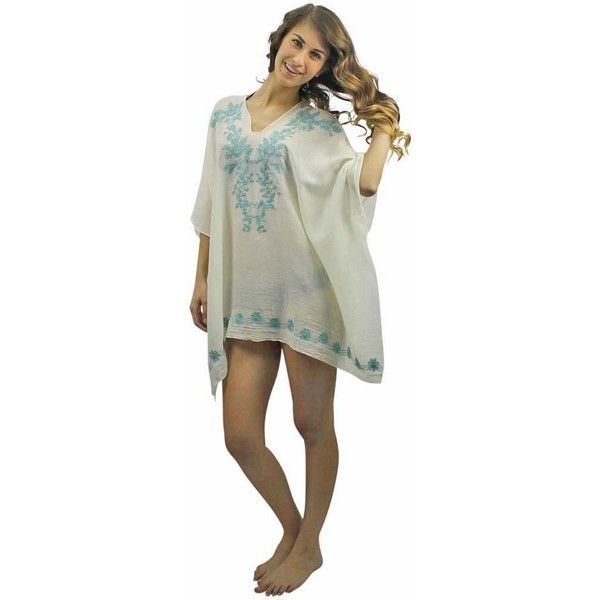 Light Blue Embroidered Sheer White Beach Cover Up Tunic Top ($15) ❤ liked on Polyvore featuring swimwear, cover-ups, cover ups, turquoise, swim suit cover up, sheer bathing suit cover ups, sheer swim cover up, white bathing suit cover up and swim suits