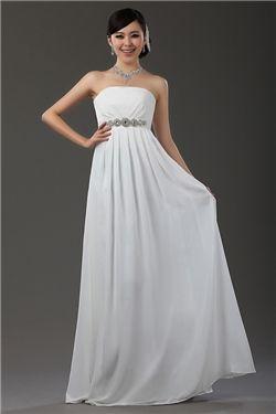 Aライン ロング ストラップレス ドレス