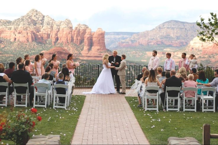 """Yes this was the view at my wedding. I always have had a passion for my wedding planning and the view had to be perfect. I got married at the Sky Ranch Lodge in Sedona AZ. I did all of my wedding table toppers bouquets myself and on a budget. Follow my wedding board for self """"to do"""" ideas. Destination wedding. Mountain top view. Sedona, Az. Beautiful Married. I should summit this to a magazine for the cover!!"""