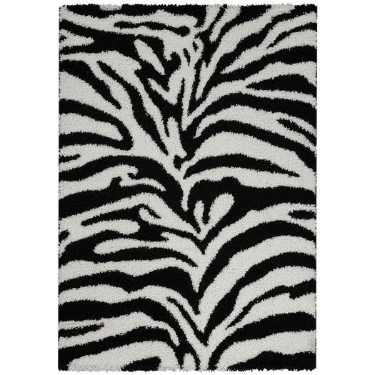 Rugnur Bella Maxy Home Zebra Animal Print Contemporary Black/White Shag Area Rug | AllModern