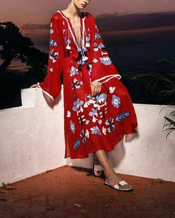 Fashion Floral Printed V-Neck Bohemian Vacation Tassel Vintage Maxi Dress
