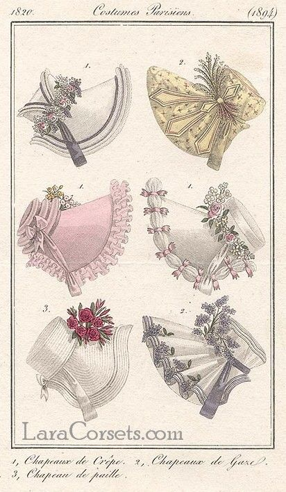 Romantic era fashion - 1820 different kinds of bonnets