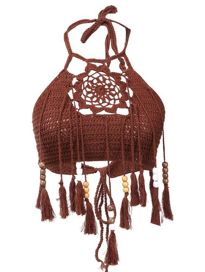ITFabs Women's Fashion High Neck Floral Crochet Knit Tassel Cami Tank Bandeau Bikini Bra Crop Tops Swimsuit Brown