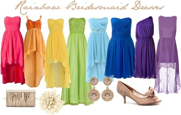 """Rainbow Bridesmaid Dress Idea"" Definitely the style of dress I want, long at back, short at front."