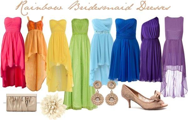 """Rainbow Bridesmaid Dress Idea"" by michelleacurtin on Polyvore"