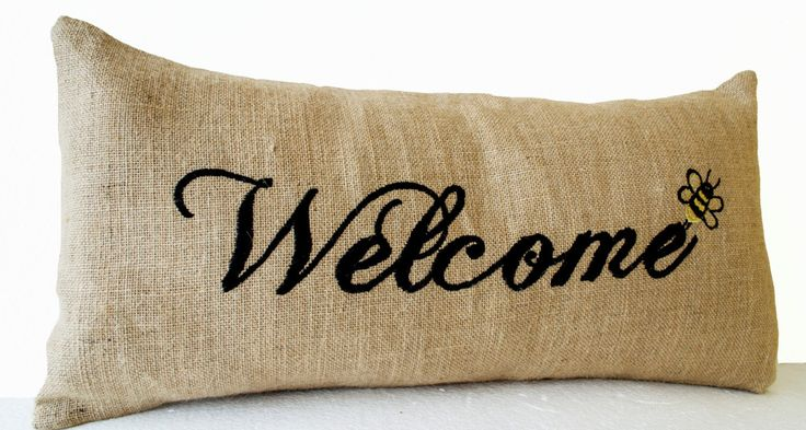 Burlap Pillow Covers Welcome Embroidered Pillow Burlap Pillows Decrative throw pillow covers