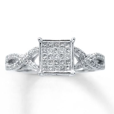 Beautiful and affordable Diamond Engagement Ring 1/3 ct tw Princess-cut 10K White Gold