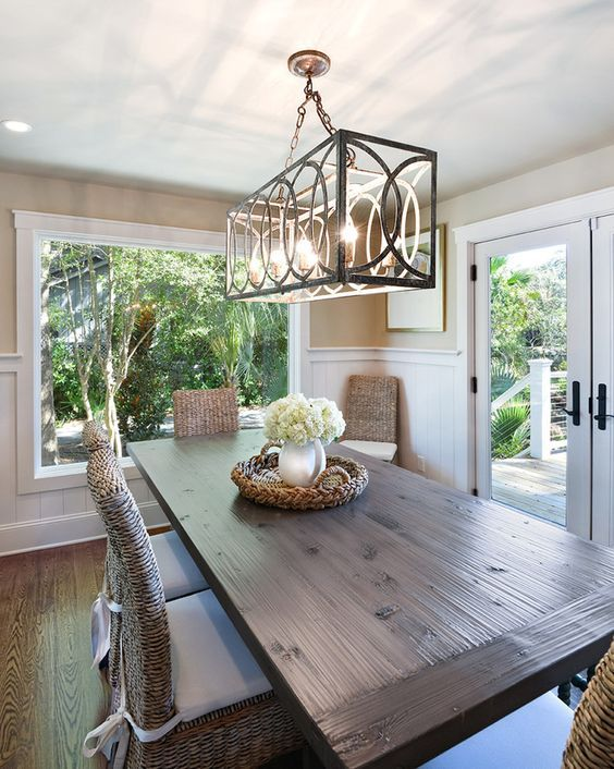 Superior Kitchen Dining Room Lighting Ideas Part - 11: House Of Turquoise: Harper Construction I Have These Chairs, Great Idea  With The Cushions, Love The Long Farm Table, Have Been Looking For A  Smaller Round ...