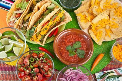Traditional #Mexican #Food: Taco, nachos chips and tomato dip.