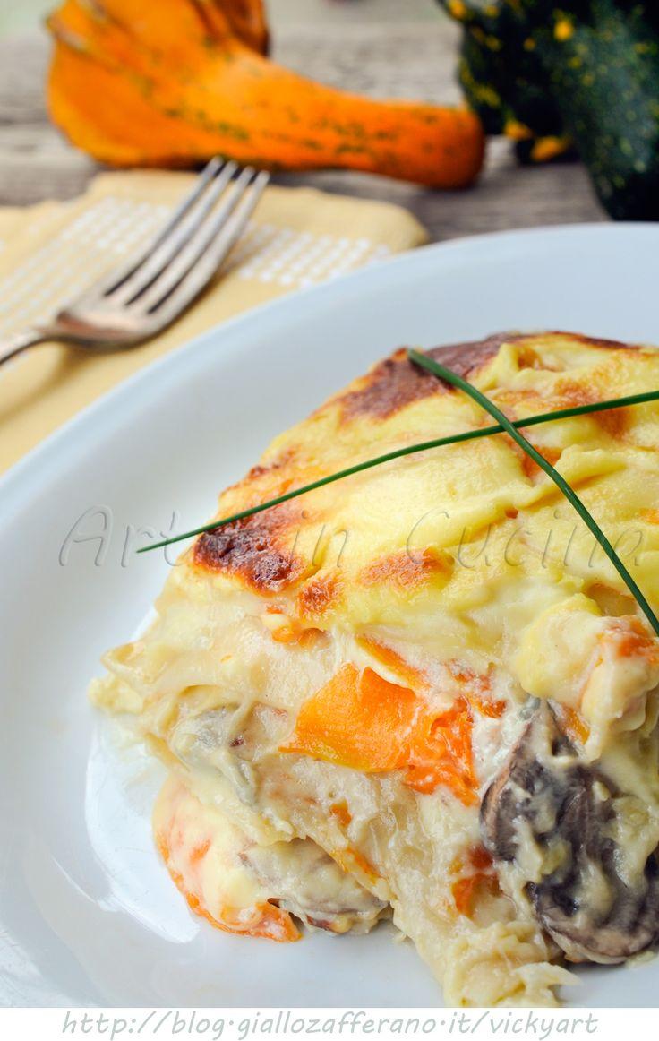 Lasagne con zucca gorgonzola e funghi in salsa mornay