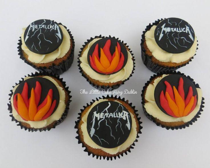 Metallica Cupcakes to match the recipients cake  www.littlecakefairydublin.com www.facebook.com/littlecakefairydublin