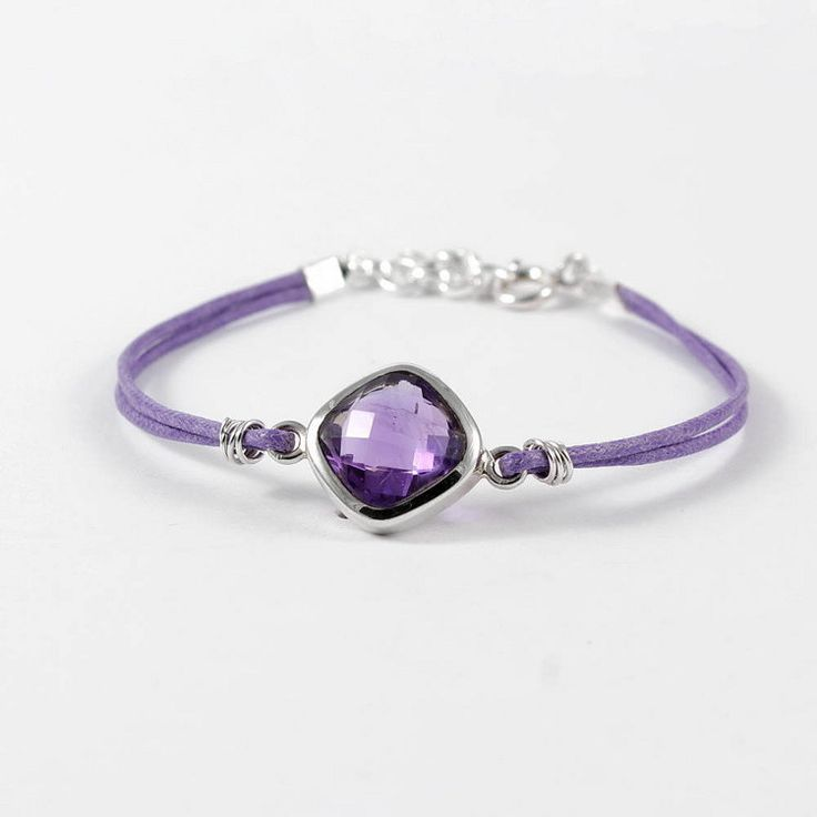Sterling silver Amethyst bracelet on purple cord with by Freesize
