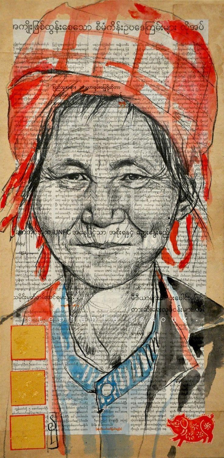 """Stéphanie Ledoux - Carnets de voyage: La sagesse Pao"""", 25x50 cm D'après une photo de Marina Périllat"""