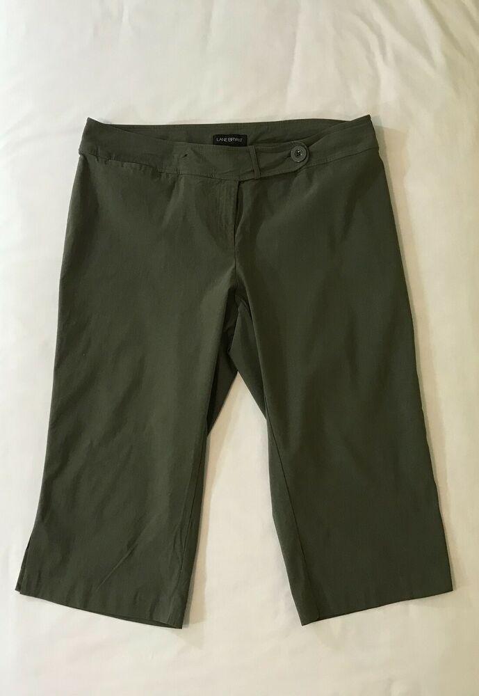 de1351ae5c9 Lane Bryant Womens Dress Capri Crop Pants Size 22 Rayon Stretch Olive Green   LaneBryant