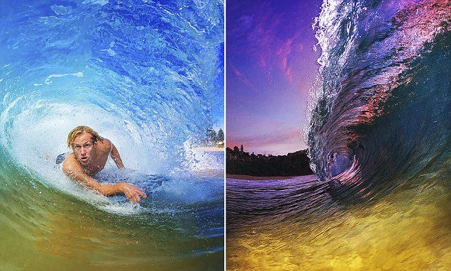 Photographer captures surfers riding through incredible rainbow waves