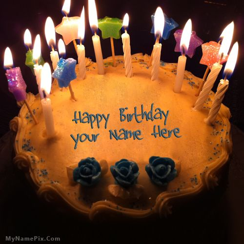 Online Write Your Name On Best Candles Birthday Cake