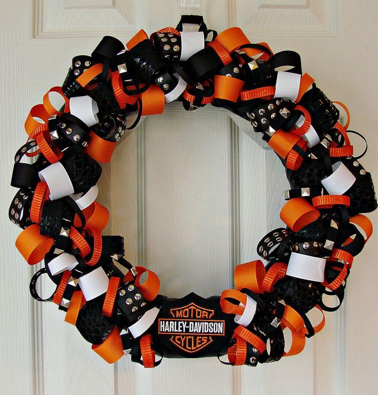 Harley Davidson inspired ribbon trim wreath. $50.00, via Etsy.  Harley-Davidson of Long Branch www.hdlongbranch.com