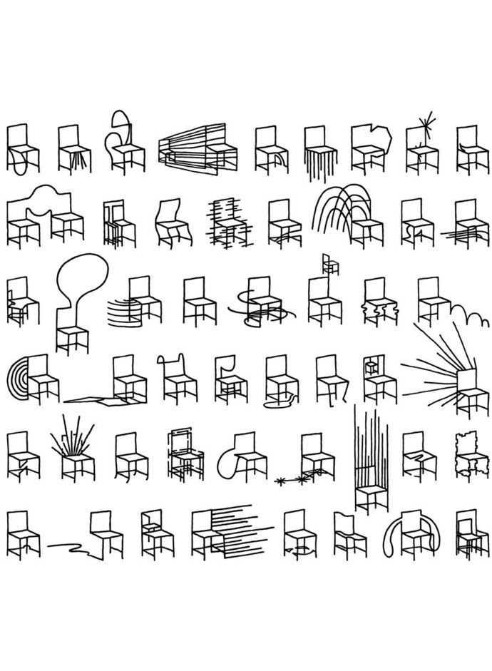 Abstract chair design thumbnail sketches