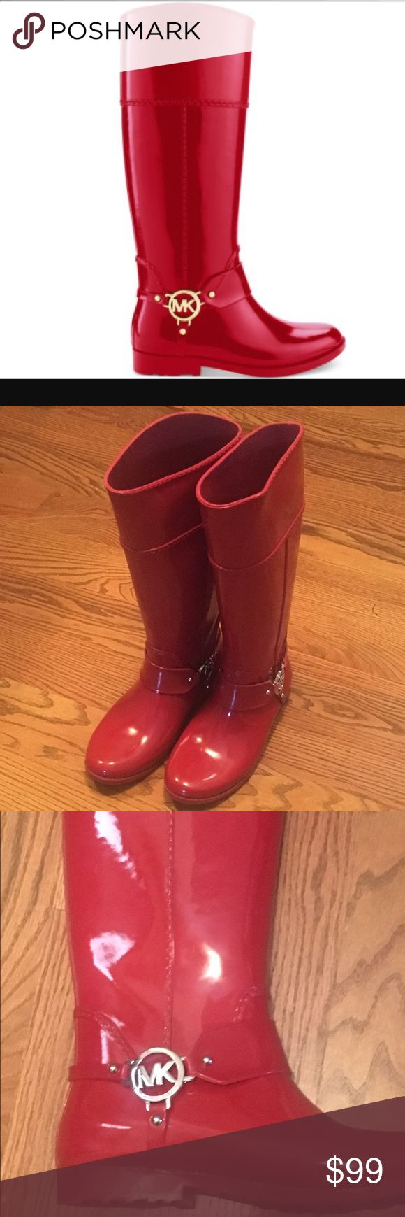 Michael KORS Fulton RAIN BOOTS Talk Michael KORS rubber rain riding boots, MK silver logo. Candy apple Red. Worn maybe 5 times. Bottoms had a film that rubs off after first wear but still of great condition. I worn these in the rain and it held up during my son soccer tournaments. I was so glad I had them, it rain the whole weekend! Soccer mom problems solved.  Great condition. Comes with box!! :)  Size 8. MICHAEL Michael Kors Shoes Winter & Rain Boots