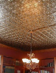 Easy install Tin Ceiling Tiles (2'x4'), White only $12.95. Use ornate 309 for silver or the boxy one in brown.
