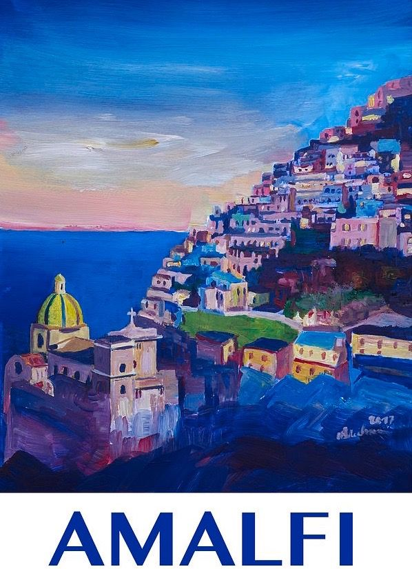 Genova Italy summer Vintage painting art Travel Poster Print Framed Canvas