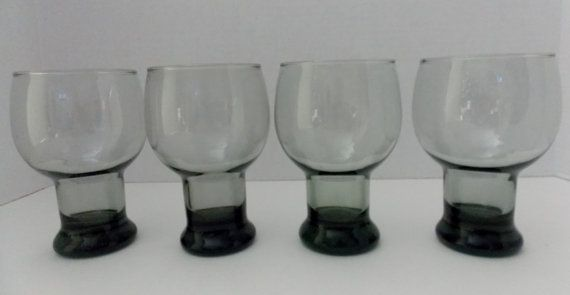 4 Smoked Mid Century Modern Beer Glasses 12 by DocsOddsandEnds