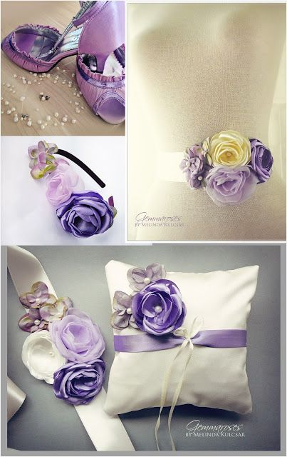 Handmade Lilac / Purple Bridal accessories by GEMMAROSES