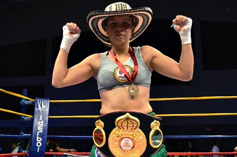 La boxeadora Liliana Palmera, campeona mundial supergallo de la AMB en el 2015.
