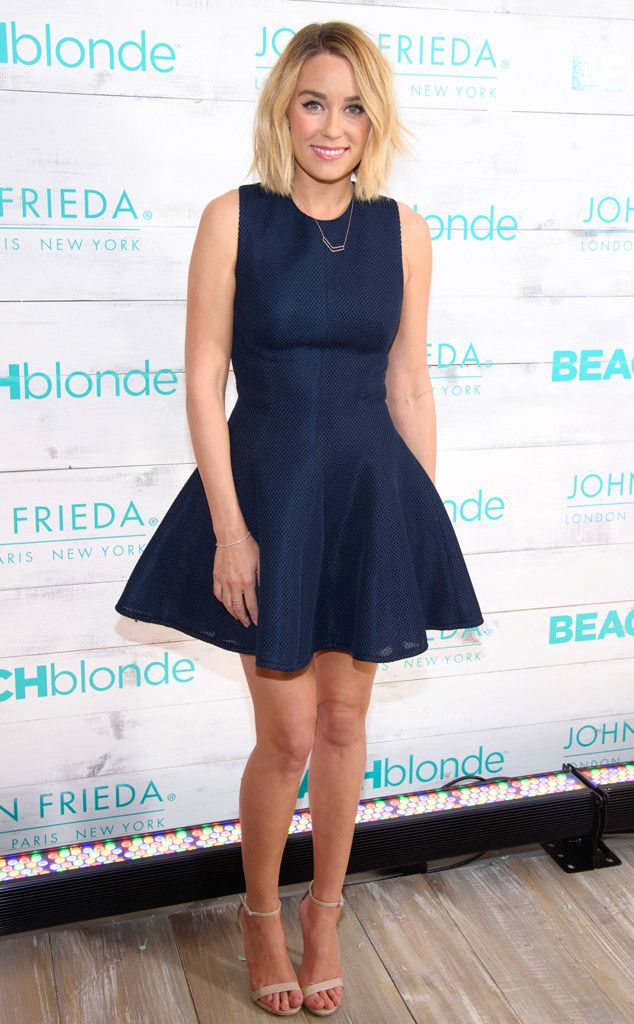 Lauren Conrad from The Best of the Red Carpet  She's polished and poised in Lela Rose at the John Frieda Hair Care Beach Blonde Collection party in NYC.
