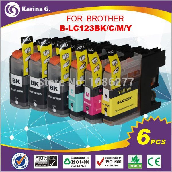 6X Ink Cartridges for Brother LC123 mfc-J4510DW MFC-J4610DW Printer Ink Cartridge LC 123 MFC-J4410DW J4710DW
