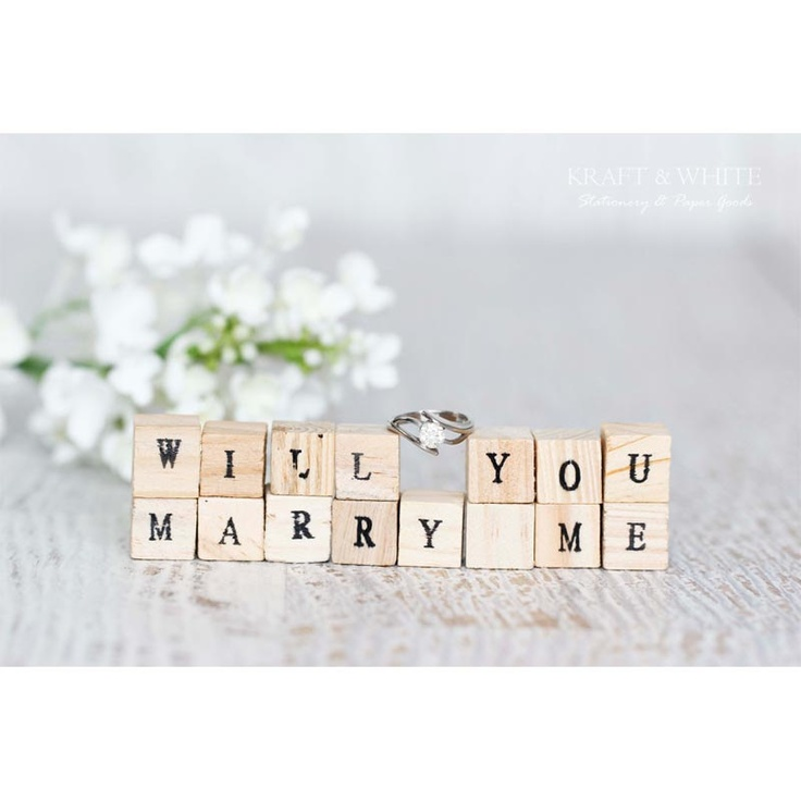 Personalized wood block set, will you marry me, wedding favor, wedding gift, home decor, bomboniere, rustic. $29.00, via Etsy.