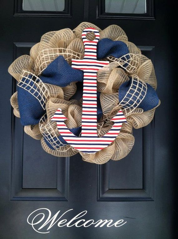 summer wreath shore wreath nautical wreath deco mesh by jennyCmoon, $60.00