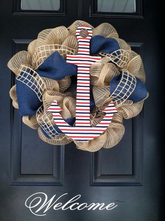 summer wreath shore wreath nautical wreath deco mesh by jennyCmoon, $60.00