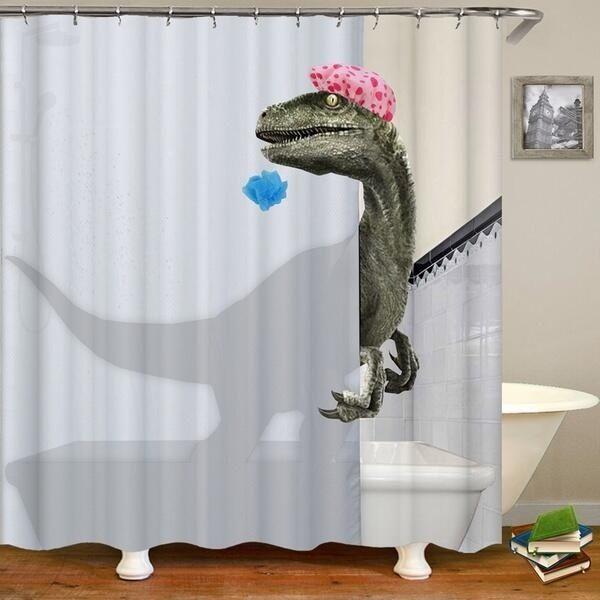 4 3 1pcs 180x180cm Dinosaur Printed Bathroom Decor Waterproof