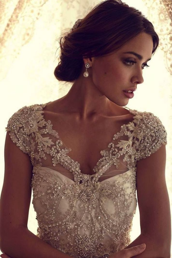 Stunning Wedding Dresses With Bling: Sequins, Metallics, Jewels & More