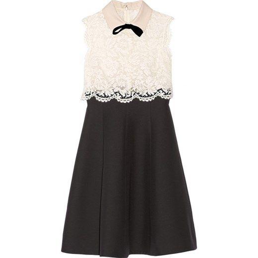 Lace and wool and silk-blend crepe dress net-a-porter czarny koronka