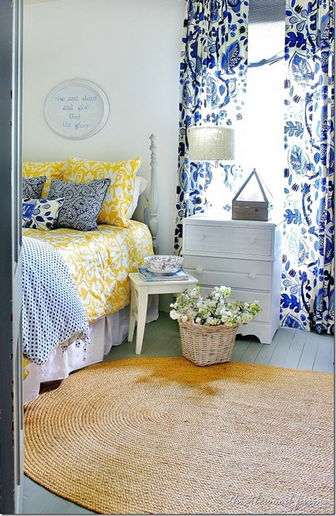 Love this blue, white and yellow bedroom. So inviting! via Thistlewood Farms