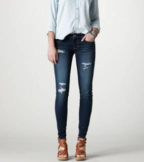 Jegging - Dark Destroy, Super Stretch from American Eagle