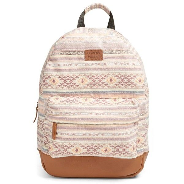 Women's Rip Curl 'Surf Bandit' Woven Backpack (78 CAD) ❤ liked on Polyvore featuring bags, backpacks, dusty rose, rip curl backpacks, knapsack bag, backpack bags, pink bag and rucksack bag