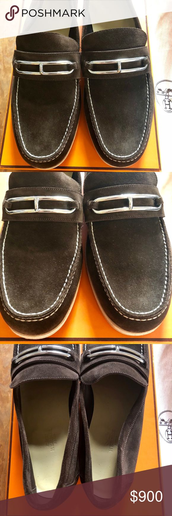 Hermès of Paris - NWT Mens Brown Loafer sz EU 43.5 Hermès of Paris - Dark brown loafer / slip on dress shoe. Suede exterior, Hermès silver buckle over the top. EU 43.5, US 10 / 9.5.  This pair is brand new with tags, has not been worn, and will include the cloth sleeves and original Hermès box. Hermes Shoes Loafers & Slip-Ons