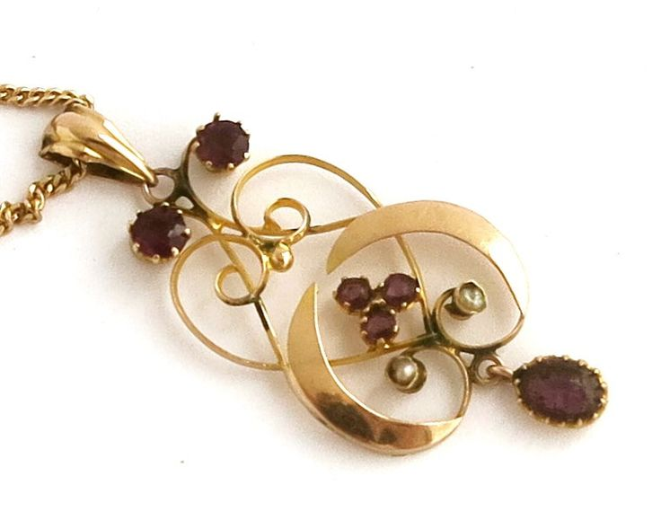 Antique Edwardian Art Nouveau 9 carat rose gold pendant, 6 purple amethyst stones and 2 seed pearls on 9 carat fine gold chain, circa 1900 by CardCurios on Etsy