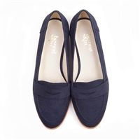 Beyond Skin Kate round toe flat vegan loafer court shoe made from navy faux suede with synthetic faux leather lining 100% Vegan, vegetarian and cruelty-free.