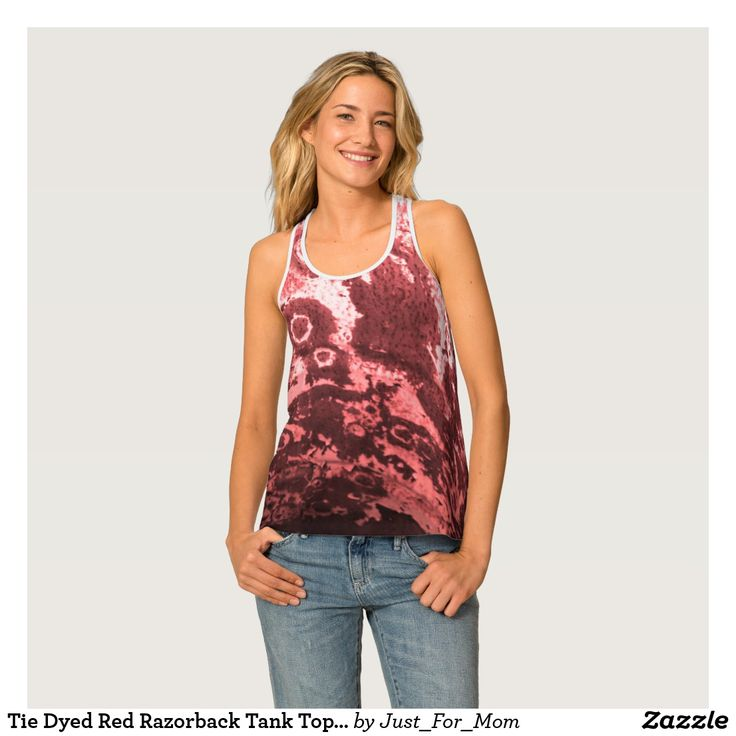 Tie Dyed Red Razorback Tank Top by Janz