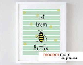 LET THEM BE little  >>> Modern Girls & Boys Printable Wall Art - Mint Nursery Decor - Bumble Bee Nursery Print