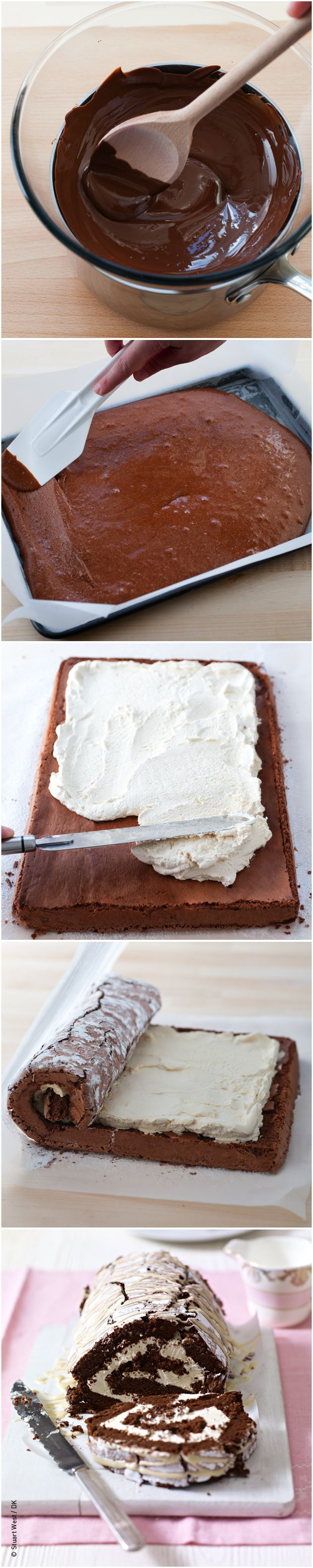 Recipe for Chocolate and Irish Cream Roulade from Mary Berry Cooks the Perfect.  #MaryBerry#PinthePerfect and #MaryBerry