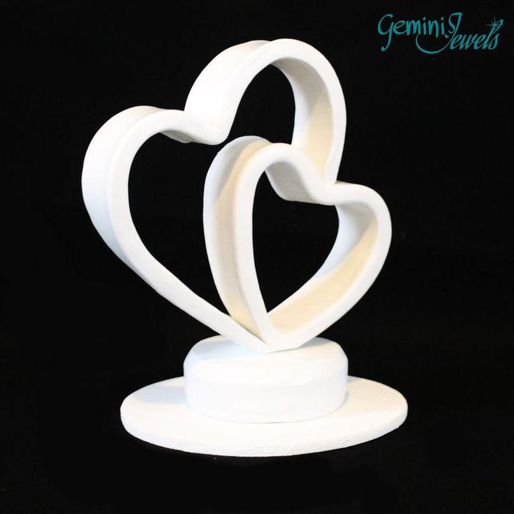 Cake Topper due cuori, in fimo fatto a mano, by Gemini Jewels, 45,00 € su misshobby.com