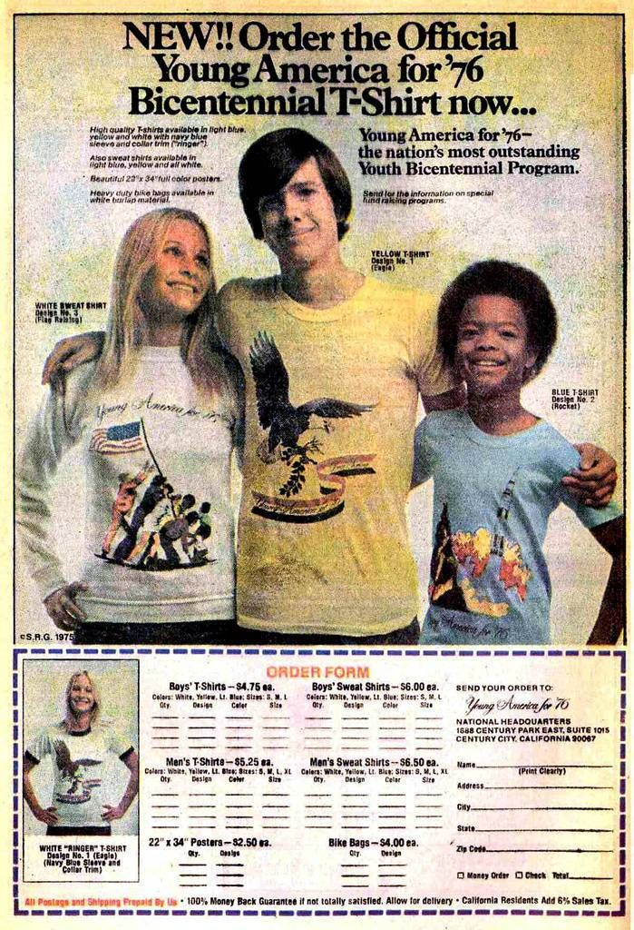 """Advertising Pics — """"NEW!! Order the Official Young America for '76..."""