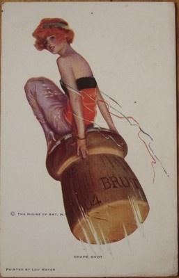 Super 1915 Art Deco New Year Postcard Woman Giant Champagne Cork | eBay